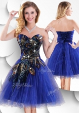 2016 Luxurious Short Peacock Blue Prom Dress with Beading and Appliques