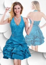 2016 Romantic Halter Top Taffeta Teal Prom Dress with Bubles