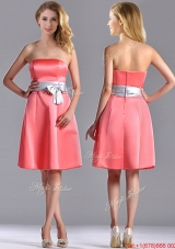 Best Selling Watermelon Knee Length Bridesmaid Dress with Silver Bowknot