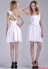Classical Criss Cross White Bridesmaid Dress with Hand Crafted Flowers