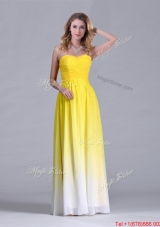 Discount Empire Sweetheart Ruched Long Bridesmaid Dress in Gradient Color