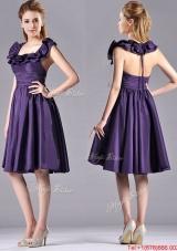 Elegant Halter Top Backless Short Bridesmaid Dress in Dark Purple