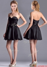 Exquisite Bowknot Organza Short Bridesmaid Dress with Zipper Up