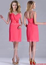 Popular V Neck Zipper Up Short Dama Dress in Coral Red