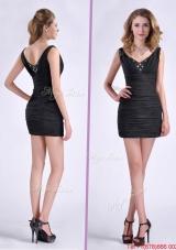 Modest Column V Neck Beaded Black Short Prom Dress