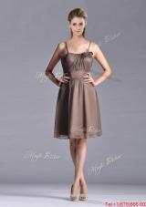 Popular Chiffon Brown Short Prom Dress with Spaghetti Straps