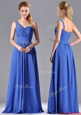 2016 Column Chiffon Beading and Ruching Blue Prom Dress with One Shoulder