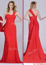 2016 Column One Shoulder Watteau Train Coral Red Prom Dress with Side Zipper