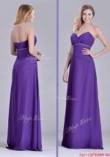 2016 Column Sweetheart Ruching Purple Prom Dress for Celebrity