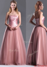 2016 Elegant A Line Tulle Beaded Long Prom Dress in Peach