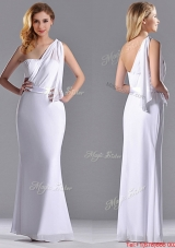 2016 Exclusive Column White Chiffon Backless Prom Dress with One Shoulder