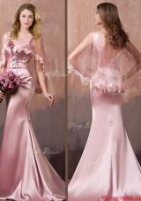 2016 Gorgeous Mermaid V Neck Beaded Prom Dress with Brush Train