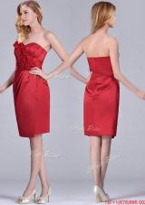 Low Price Red Column Satin Knee Length Prom Dress with Ruffles
