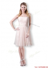 Cute Empire Chiffon Champagne Short Bridesmaid  Dress with Halter Top