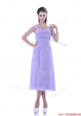 Fashionable Lavender Empire Square Prom Dress in Tea Length