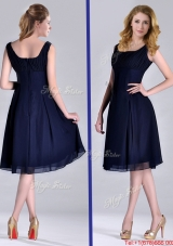Latest Square Empire Chiffon Navy Blue Christmas Party Dress with Ruching