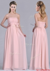 Modern Chiffon Handcrafted Flowers Long Bridesmaid Dress in Baby Pink