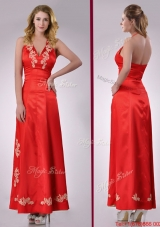 Modest Column Halter Top Backless Red Christmas Party Dress with Appliques