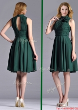 New High Neck Handmade Flower Dark Green Christmas Party Dress with Open Back
