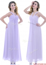Popular Ruched Decorated Bust Ankle Length Bridesmaid Dress in Lavender