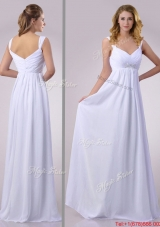 Hot Sale Empire Beaded White Chiffon Dama Dress with Straps