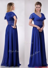 Low Price V Neck Beaded Blue Long Mother Dress with Short Sleeves
