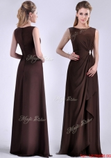Modest Bateau Brown Chiffon Long Mother Dress with Zipper Up