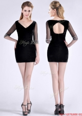 Most Popular Beaded Open Back Black Mother Dress with Half Sleeves