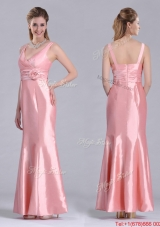Most Popular V Neck Hand Crafted Flower Peach Mother Dress in Ankle Length