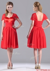 New Arrivals Empire Short Sleeves Chiffon Mother Dress in Red