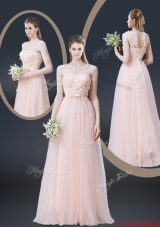 2016 Lovely Empire Bateau Prom Dresses with Appliques and Bowknot
