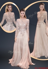 Cheap Brush Train Champagne Prom Dresses with Beading