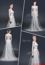 Elegant Empire Bateau Prom Dresses with Brush Train
