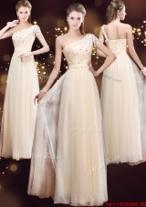 Elegant One Shoulder Prom Dresses with Appliques and Beading