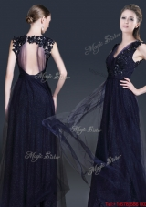 Fashionable V Neck Paillette Prom Dresses in Navy Blue
