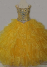 Beautiful Sweetheart Pretty Girls Party Dress with Spaghetti Straps in Yellow