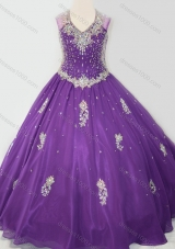 Cheap Ball Gown V Neck Organza Beaded and Applique Pretty Girls Party Dress in Purple