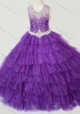 Classical Beaded and Ruffled Layers Pretty Girls Party Dress in Purple