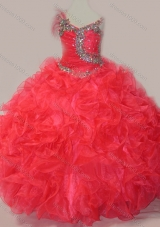 CoraL Red Ball Gown V Neck Organza Beading Pretty Girls Party Dress with Lace Up