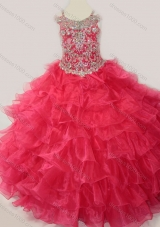 Cute Ball Gown Coral Red Beading and Ruffled Layers Pretty Girls Party Dress with Straps and Off the Shoulder