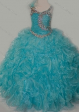 Elegant Ball Gown V Neck Organza Beading Aqua Blue Lace Up Mini Quinceanera Dress