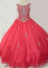 Hot Sale Puffy Scoop Pretty Girls Party Dress with Beading in Coral Red