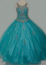 New Arrival Ball Gown Scoop Organza Long Lace Up Pretty Girls Party Dress with Beading