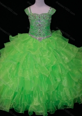 Perfect Sweetheart Ruffled Layer Mini Quinceanera Dress with Spaghetti Straps in Spring Green