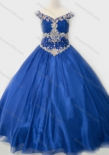 Popular Beaded Bodice Royal Blue Pretty Girls Party Dress in Organza