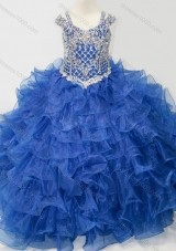 Puffy Skirt V-neck Beaded and Ruffled Layers Mini Quinceanera Dress with Straps