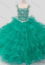 Top Selling Princess Straps Organza Turquoise Lace Up Pretty Girls Party Dress with Beading