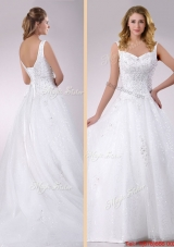 2016 Classical Straps Beaded Tulle Wedding Dress with Court Train
