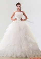 2016 Fashionable Strapless Tulle Bridal Gown with Beading and Ruffles