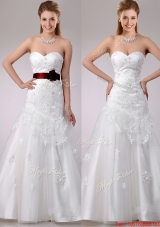 Decent A Line Brush Train Beaded and Applique Wedding Dress with Sash